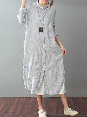 Women Long Sleeve Striped Buttons Shirt Dress