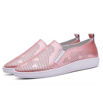 Women Casual Breathable Loafers Hollow Out Slip-on Soft Sole Flat Shoes