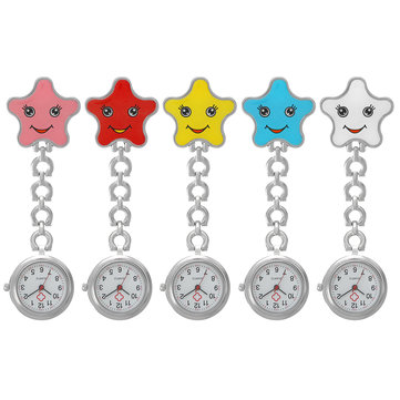 Women Cartoon Sea Star Shape Smiley Face Nurse Watch Colorful Pocket Watch