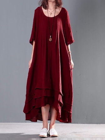 Women Double Layers Casual Loose Cotton Maxi Dress