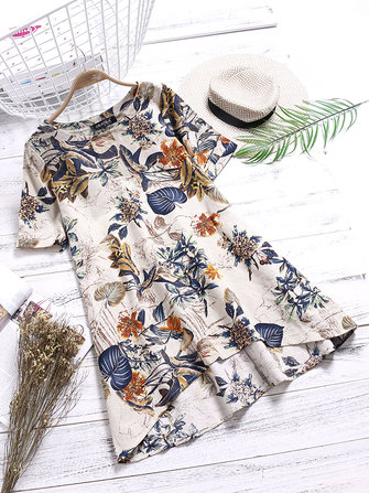 Women Floral Print O-neck Short Sleeve Dress