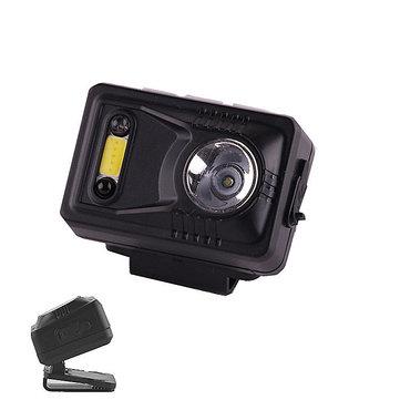 XANES 300LM Sensing Headlight Night Fishing Cycling Double Light Source Rechargeable Clip Cap Lamp