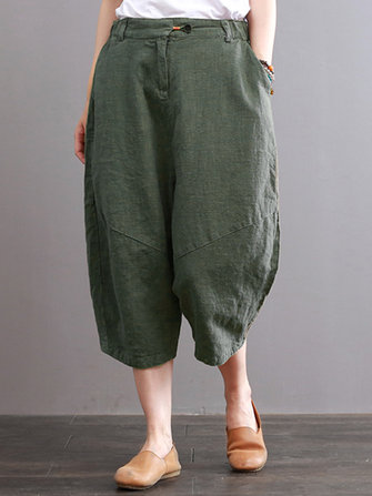 Summer Women Cotton Linen Solid Color Trousres Pants