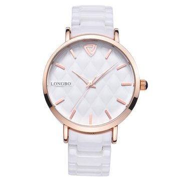 LONGBO 80050 Rose Gold Case Quartz Watch Ceramic Strap Watch