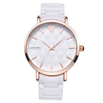 LONGBO 80050 Rose Gold Case Quartz Watch Ceramic Strap Watch