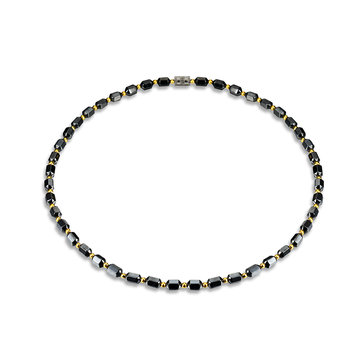 Black Magnet Stone with Gold Color Beads Necklace Healthy Healing Jewelry for Men Women