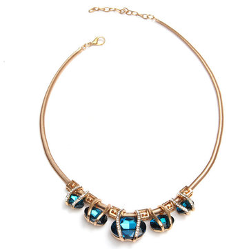 Crystal Choker Chunky Bib Pendant Necklace Chain