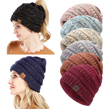 Women Winter Ponytail Beanie Hat Knitted