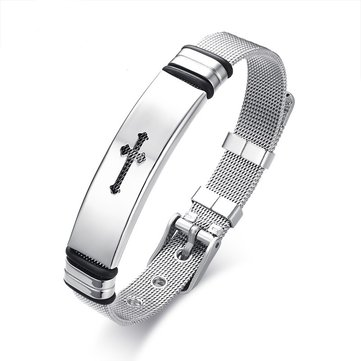 12mm Punk Stainless Steel Cross Adjustable Bracelet Wristband Simple Jewelry for Men