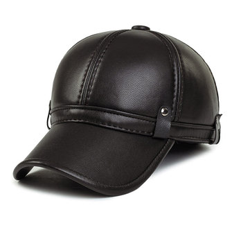 Unisex PU Leather Earflap Ear Muffs Baseball Cap Black Brown Adjustable Golf Outdoor Hat