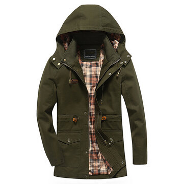 Mens Outdoor Cargo Loose Work Jacket Cotton Solid Color Hooded Coat