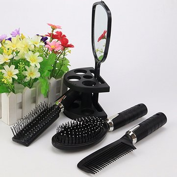 5pcs Salon Hair Styling Mirror Comb Hairdresser Set Cutting Hairstyling Set