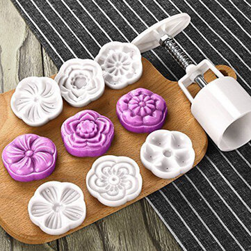50g 6 Patterns Moon Cake Mold Round Flower Mould Baking Tool Mid Autumn Festival DIY Decoration