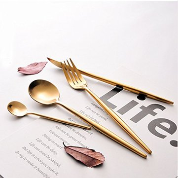 KCASA 4 Piece Stainless Steel Flatware Set Including Fork Spoons Knife Tableware Golden