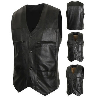 Casual Business Black Inside Fleece Liner Faux Leather Vest