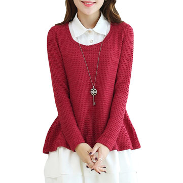 Ruffles Knit Patchwork Two Pieces Lapel Bottom Blouse For Women