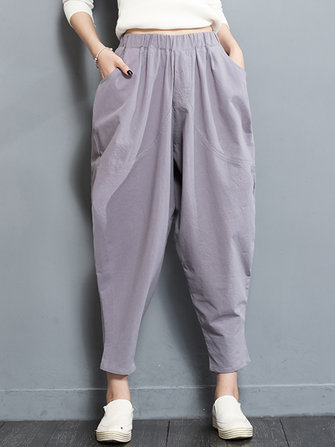 Casual Loose Solid Color Elastic Waist Women Harem Pants