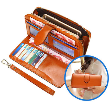 Women PU Patchwork Wallet Card Bag Phone Bag Coin Bag Casual Wristlet Wallet