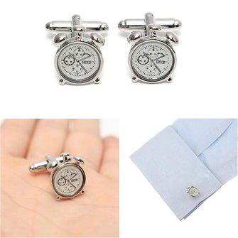 Men Male Silver Alarm Clock Pattern Cuff Links Wedding Gift Suit Shirt Accessories