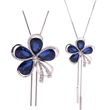 Fashion Blue Crystal Rhinestones Flower Necklace Sweater Chain Statement Necklaces for Women