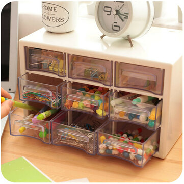 Plastic 9 Lattice Portable Mini Debris Cabinets Amall Drawer Jewelry Storage Box