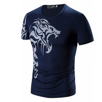 Summer Mens Causual Printing Quick Drying Slim Fit Short Sleeve T-shirt