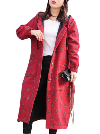 XL-4XL Vintage Women Floral Printed Hooded Thick Coats