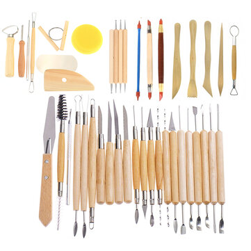42Pcs Wooden Clay Sculpting Tools Pottery Carving Tool Set Modeling Craft Hobby
