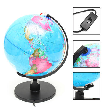 25cm 220V World Globe LED Illuminated Night Light Lamp Home Room Office Decor Children Gift
