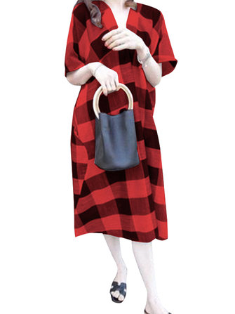 Women V Neck Half Sleeve Plaid Dress