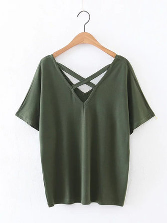 Sexy Women V-Neck Cutout Backless Short Sleeve T-shirts