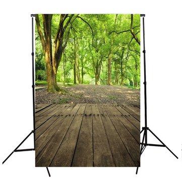 5x7ft Vinly Green Bosque árbol de fondo de píxeles Photo Foto Fondo Studio Prop