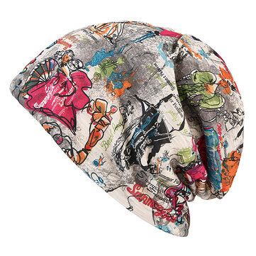Women Graffiti Cotton Beanies Cap Casual Warm Skullies Bonnet Hat