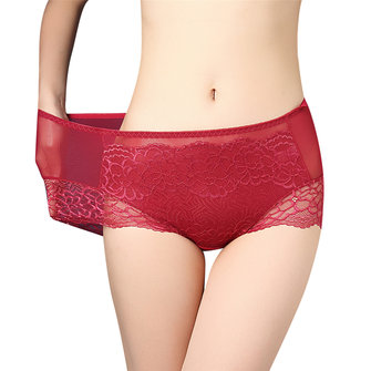 Plus Size Sexy Lace Jacquard Elastic High Waist Cotton Panties