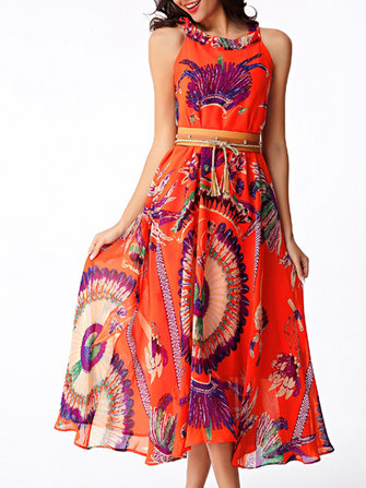 Women Sleeveless Floral Printed Chiffon Beach Vest Dress