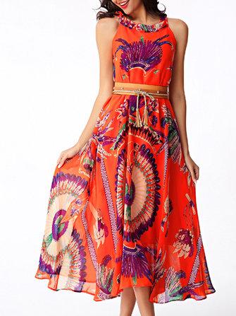 Femmes sans manches Floral Imprimé en mousseline de soie Beach Vest Dress (L'impression est aléatoire.)