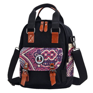 Chinese Style Canvas Mom Handbags Casual Shoulder Bags Belt Crossbody Bags Diaper Bags Backpack