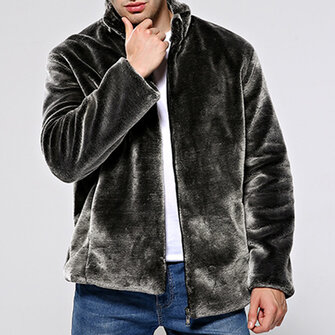 Mens Faux Fur Coat Winter Warm Stand Collar Casual Trendy Jacket