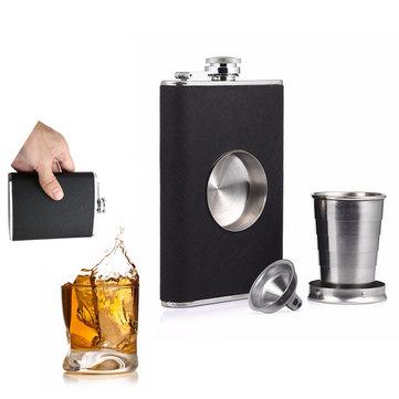 8унцийFlagonHipFlaskНа открытом воздухе Винный горшок виски Нержавеющая сталь Складная чашка для проверки герметичности