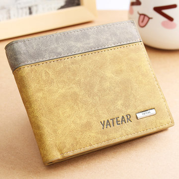 Men's PU Leather Bifold Wallet ID Business Credit Card Holder