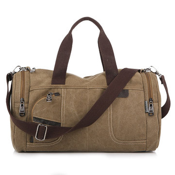 Men Canvas Casual Travel Outdoor Big Khaki Coffee Handbag Crossbody Bag