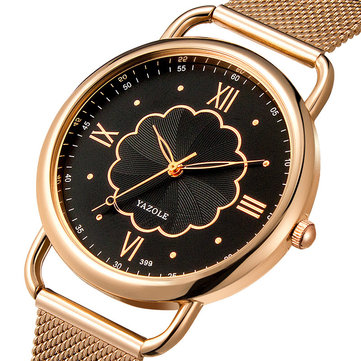 YAZOLE 399 Rose Gold Case Women Wrist Watch Full Steel Casual Style Quartz Watch