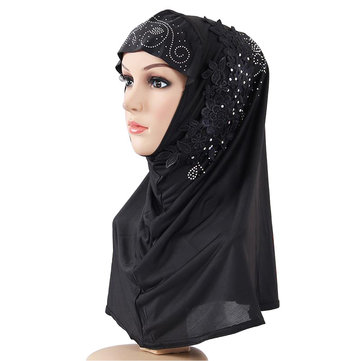 Women Lace Point Drill Monochrome Stitching Headband Turban Hats Fashion Patch Headgear Head Cap