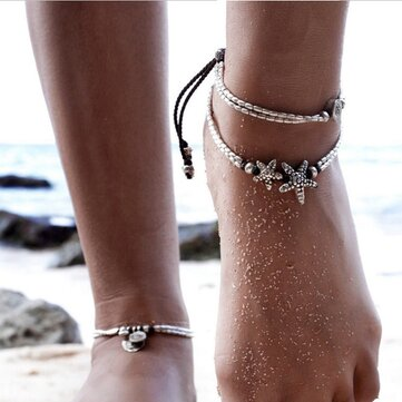 Vintage Antique Silver Anklet Women Starfish Rune Beaded Bracelet Ankle Boho Foot Jewelry