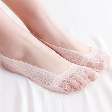 Women Lace Breathable Invisible Boat Socks Casual High Elastic Anti-skid Short Sock