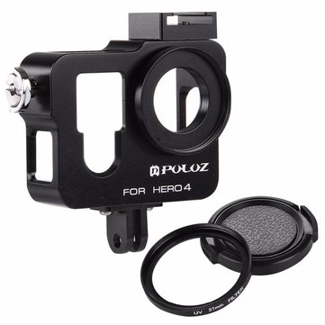 PULUZ PU153 Housing Shell Aluminum Alloy Protective Case Cage W/ UV Lens Filter Lens Cap for GoPro Hero 4 / Hero4
