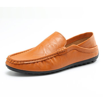 Men Leather Slip On Mens Driving Moccasin Loafer Casual Comfortable Flats Shoes