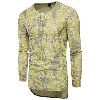 Mäns Casual Big Jacquard Färgade Långärmade T-shirts Runda Collar Tops Tees