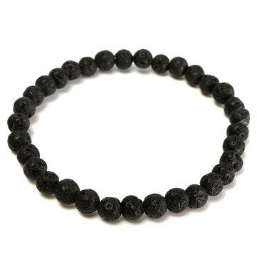 6mm Black Lava Rock Beads Elastic Bracelet For Men