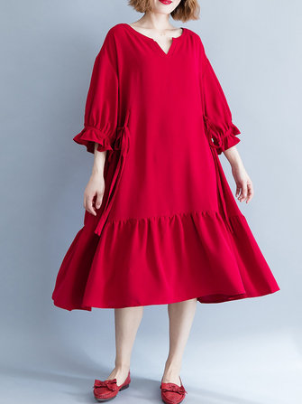 Women Casual Loose V-neck Bishop Sleeve Pleated Red Dress